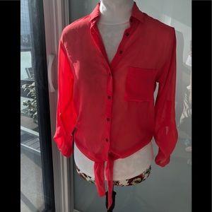 GARAGE Blush Red Flowy Sheer Blouse | Size XS - S